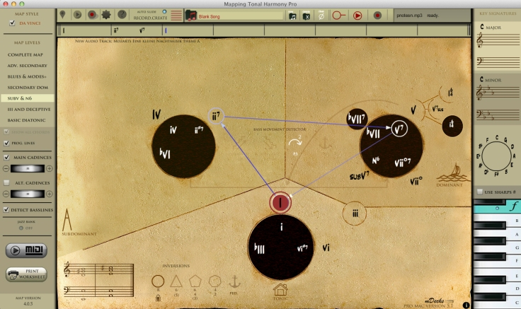 Mapping Tonal Harmony 2-5-1 harmonic progression